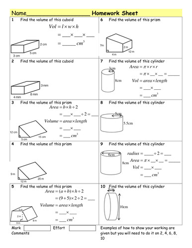 HW Volume of Prisms & cylinders by Tristanjones Teaching Resources Tes