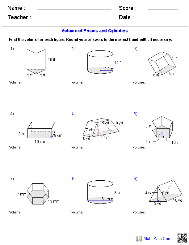 Prisms and Cylinders Volume Worksheets