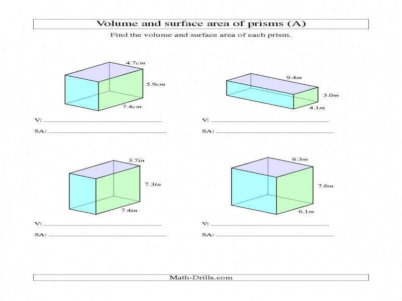 Volume And Surface Area Rectangular Prisms With Decimal Numbers A