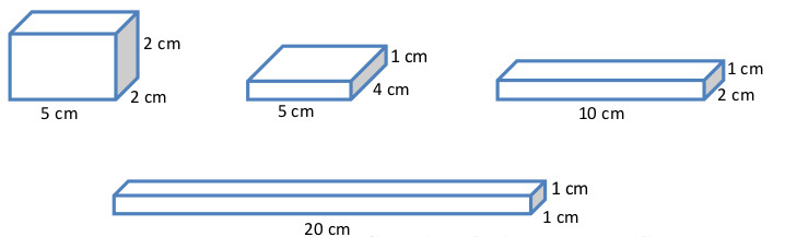 Say These are all of the rectangular prisms with a volume of 20 cubic centimeters with whole number dimensions that exist Any other rectangular prism