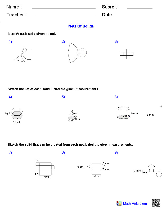 Nets of Solids Worksheets