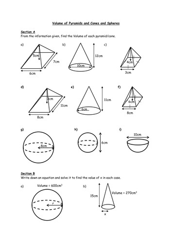 Volume of Spheres and Cones Worksheet by HolyheadSchool Teaching Resources Tes
