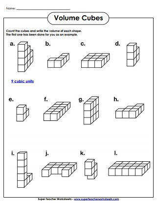Volume Cubes Worksheet Easy