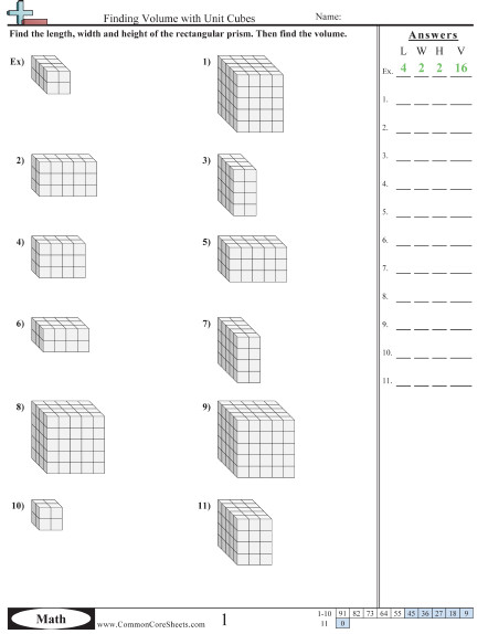 Finding Volume with Unit Cubes worksheet