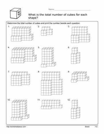 5th grade Math Worksheets Volume of cubes