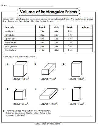 volume worksheets grade 5. Black Bedroom Furniture Sets. Home Design Ideas