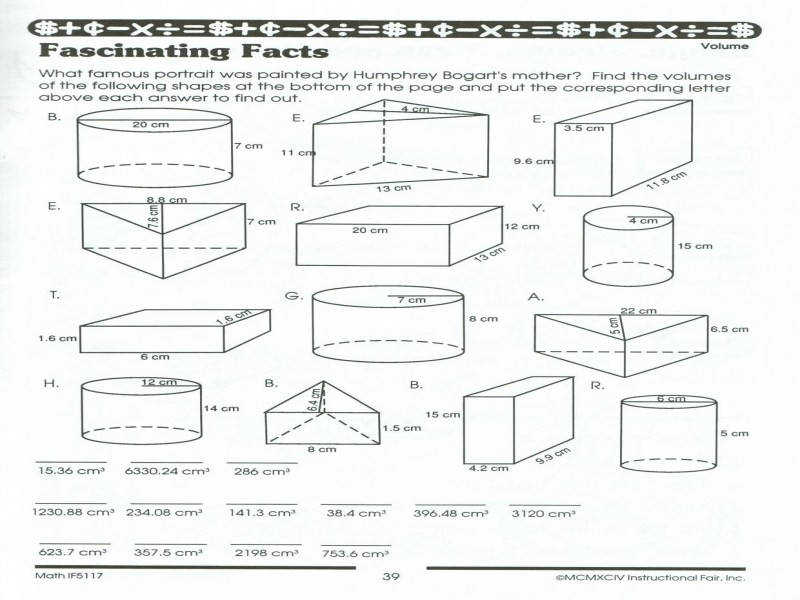 Surface Area And Volume Worksheets Grade 10 Worksheets