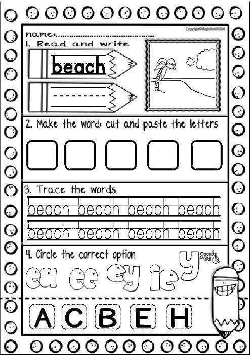 Worksheets Vowel Teams Worksheets vowel team ea ee ey ie y sounds like e printables color