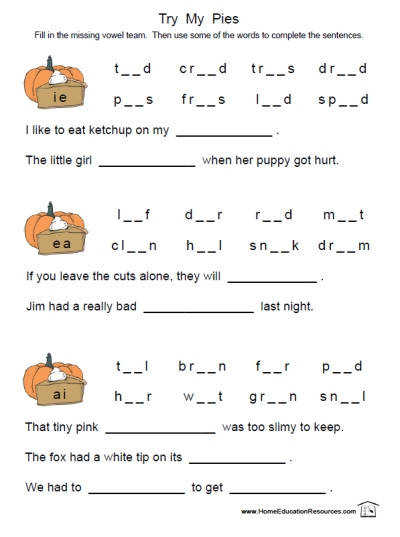 Try My Pies free printable long vowel phonics reading worksheet for first grade kids