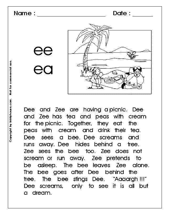 "Free phonic reading worksheet for long vowel ""ee"" and ""ea"""