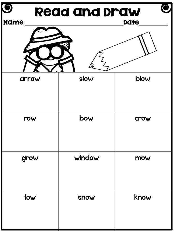 Long O Vowel Team OA and OW Word Sorts Poems Worksheets