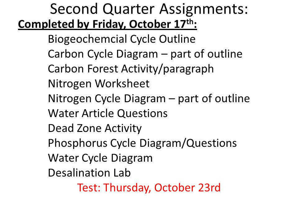 25 Second Quarter Assignments
