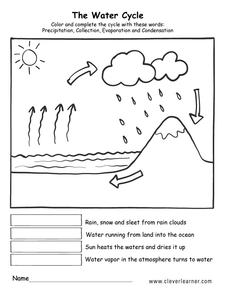 science water cycle worksheet for firstgrade 4b