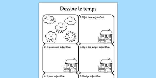 FR T T 9087 Draw the Weather Worksheet French