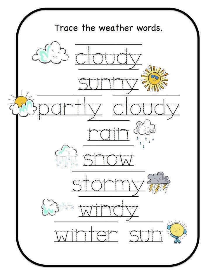 Free Weather Printables for Preschool Kindergarten Weather Worksheets