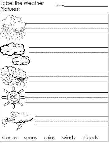 Label the Weather Words weather worksheets