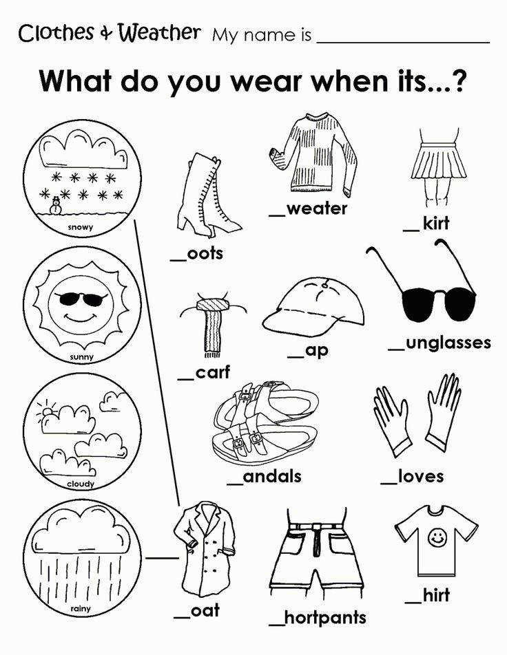 Printable Weather Clothes Worksheet Memory Care Activities Pinterest