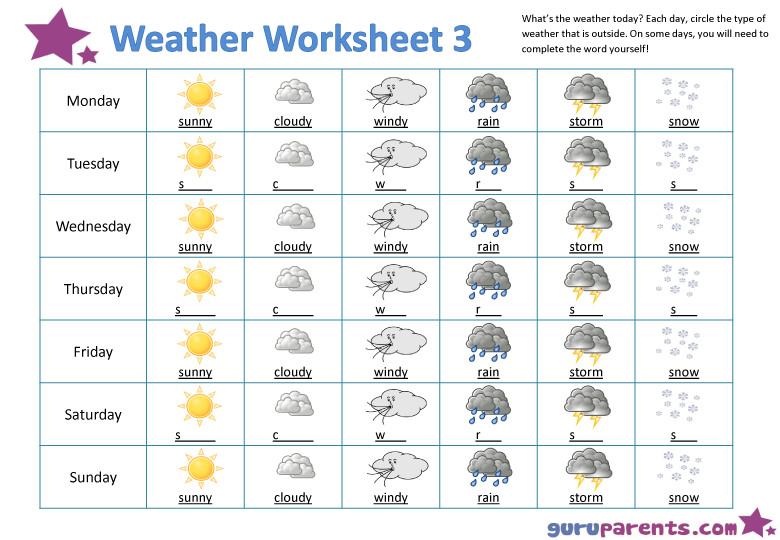 What s the weather today Weather Worksheet 3