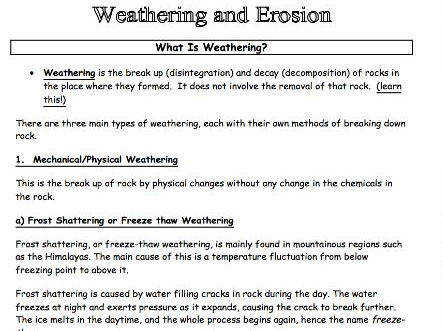 Weathering & Erosion information pack worksheet Ideal for class activity revision lesson or cover by geographeronline Teaching Resources Tes