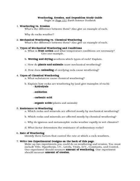 Weathering And Erosion Worksheets Worksheet