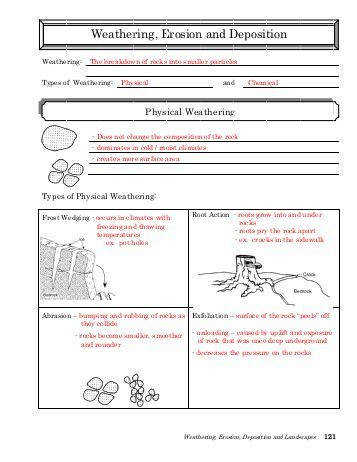 All Worksheets weathering erosion and deposition worksheets Weathering and Erosion Weathering is when surface processes