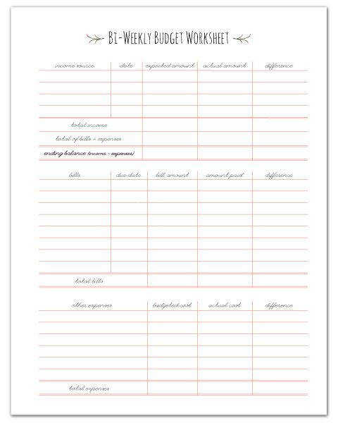 FREE PRINTABLE Paycheck Bud Worksheet fabnfree