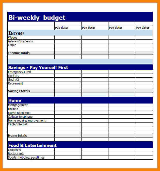 bi weekly bud worksheet 9