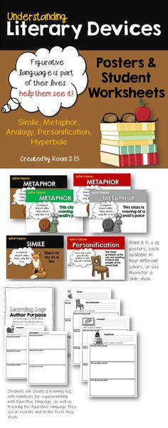 Posters and worksheets for literary devices metaphor simile personification analogy & hyperbole