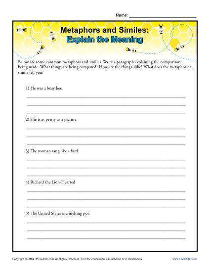 Your student is asked to explain the meanings of these metaphors and similes in this worksheet