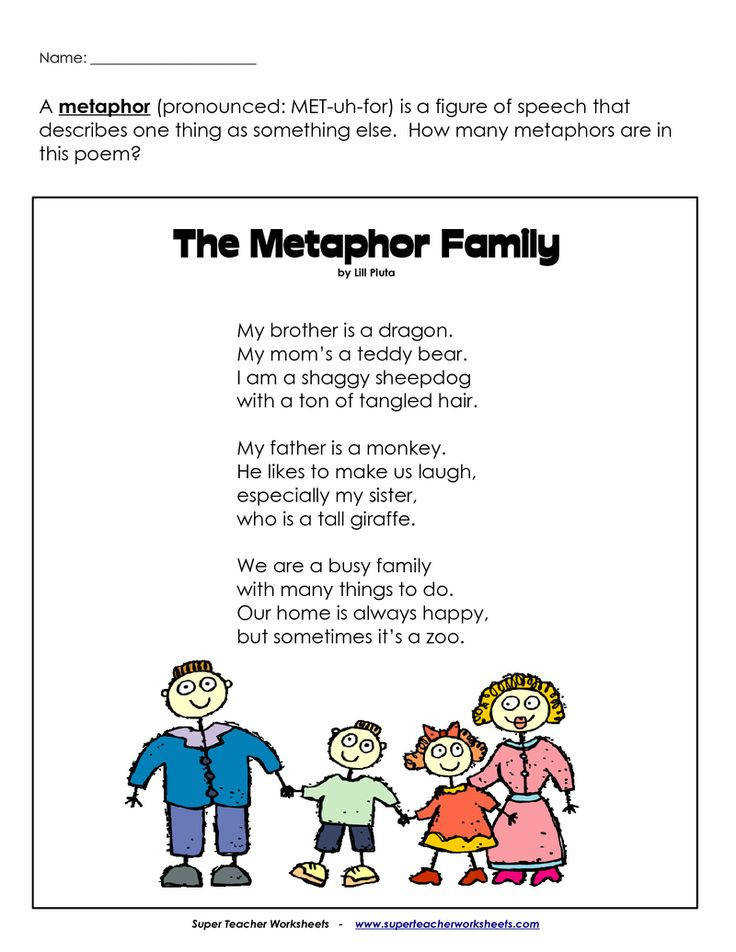 Metaphor poem and worksheet love this for introductory lesson