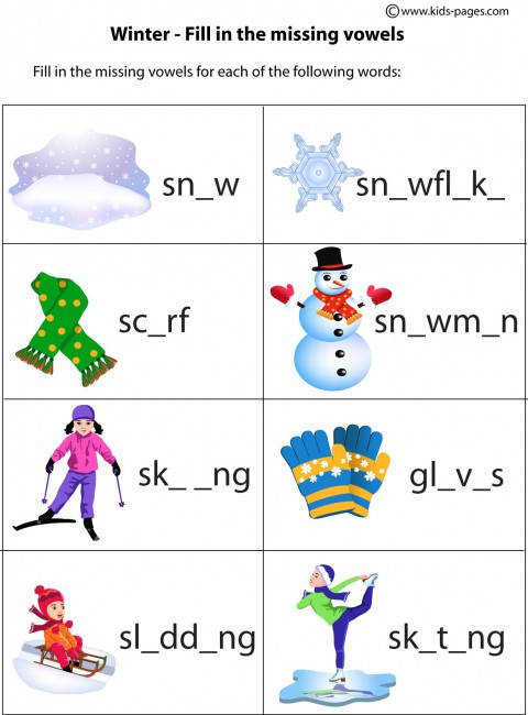 Winter Fill In worksheets