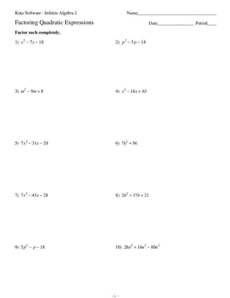 Printables Factoring Quadratics Worksheet factoring quadratic equations worksheet fireyourmentor free worksheets nqlasers