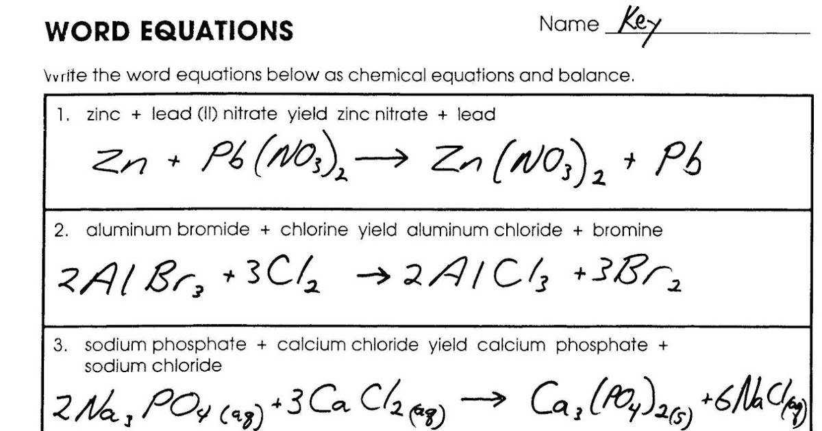 Mr Brueckner s Chemistry Class HHS 2011 12 Key for Word Equations Worksheet