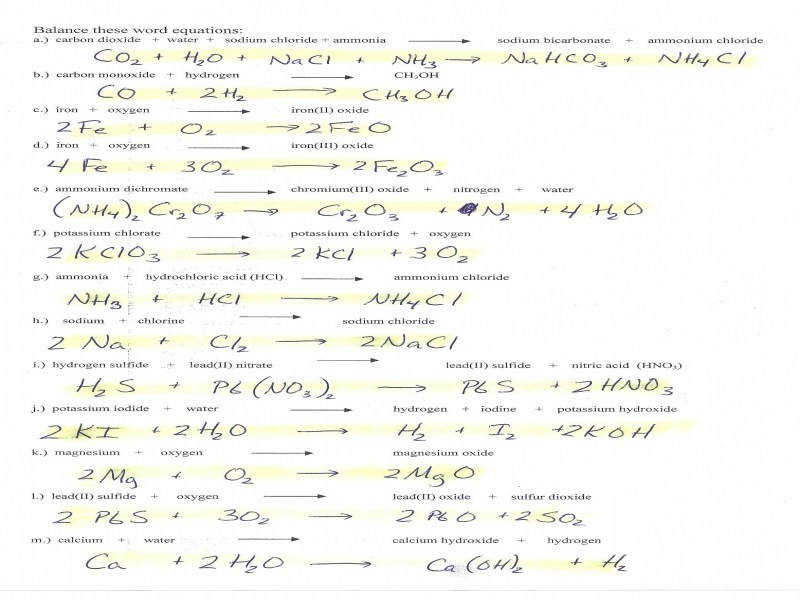 Balancing Chemical Equations Worksheet 2 Answer Key