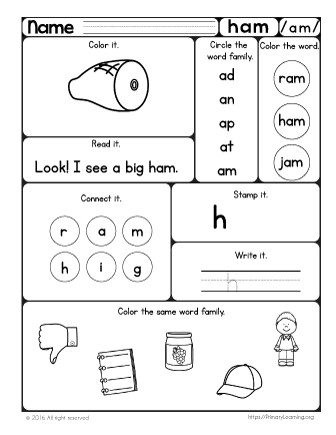 More worksheets you may like an Word Family