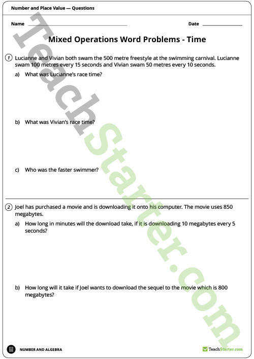 TeachingResource WordProblems Upper Worksheet 2