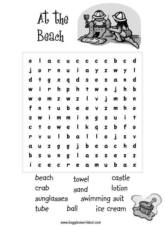 Beach Cloze Beach Bingo Game Beach Word Search