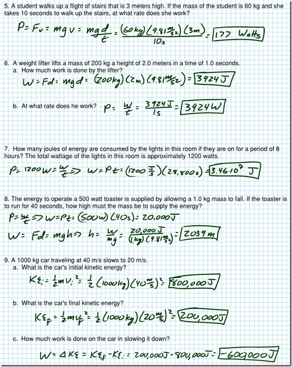 Work Energy And Power Worksheet Answers 1