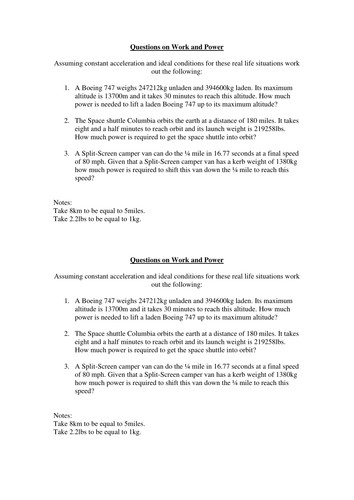 Work and power calculations worksheet