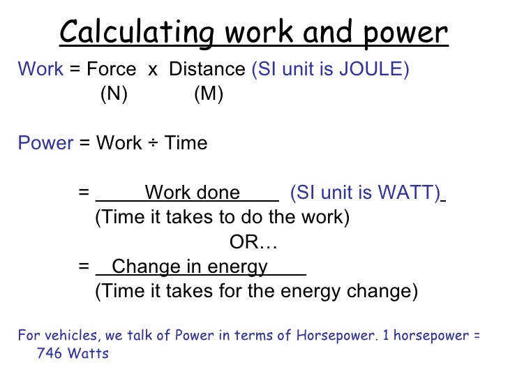 6 Calculating work and power