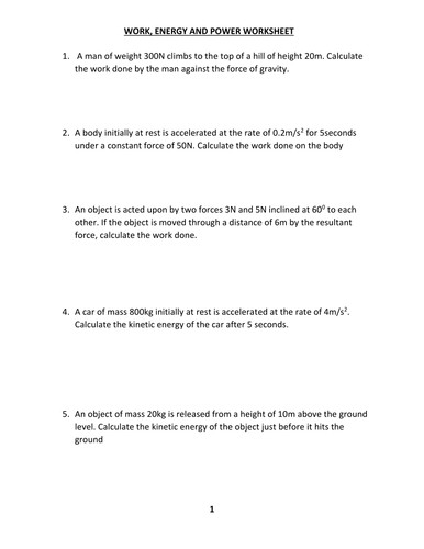 WORK ENERGY AND POWER WORKSHEET WITH ANSWER by kunletosin246 Teaching Resources Tes