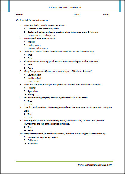 Take part or the full printable worksheet on life in the colonies worksheet answers by clicking on the pdf link above or the image above