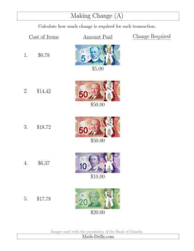 New 2015 10 13 Making Change From Canadian Bills Up To 50 A Maths Worksheet Creator
