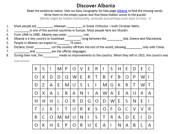 Image of Albania Worksheet – Fun Earth Science Activities for Kids Worksheets