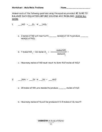Worksheet Mole Problems