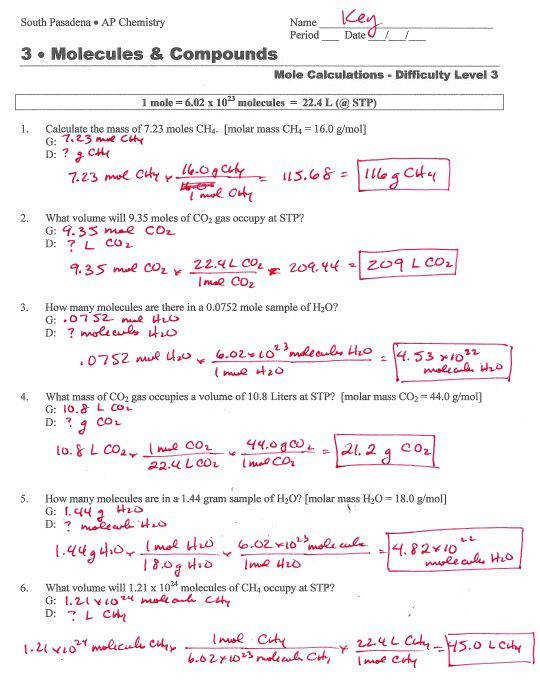 The Mole Chemistry Worksheet Beatlesblogcarnival