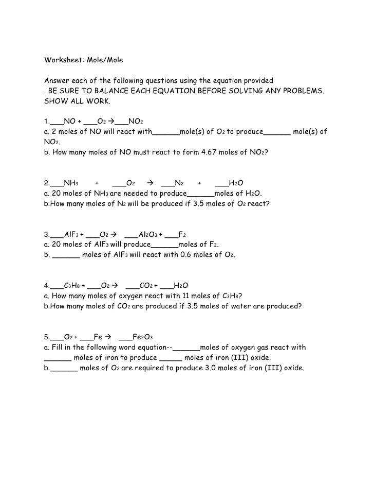 Worksheet Mole Particle Conversions Teacher Teacher Notes