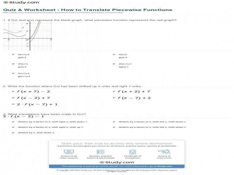 Quiz & Worksheet – How To Translate Piecewise Functions