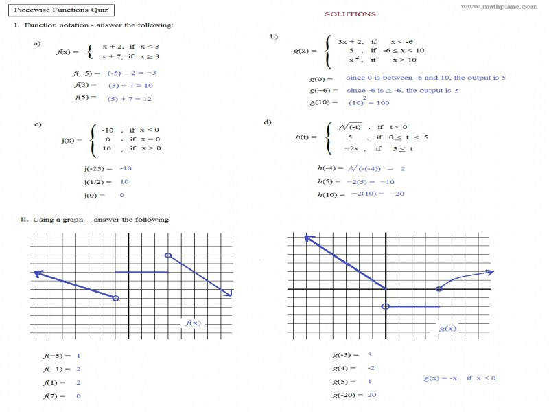 Math Plane – Piecewise Functions & F X Notation · Piecewise Functions Worksheet And Answers Worksheets