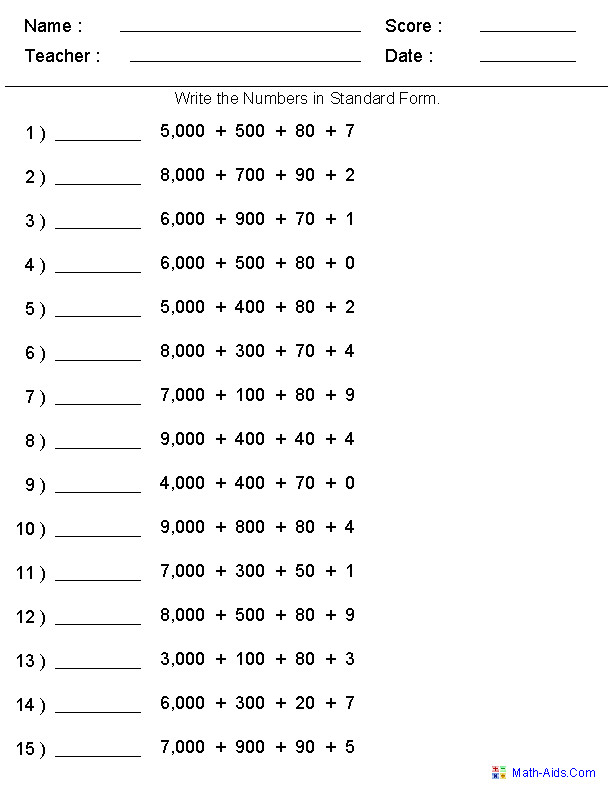 Standard Form Place Value Worksheets Generate as many versions as you want Print or
